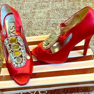 RDVP red satin heels- size 6.5